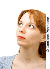 portrait, de, a, jeune femme, blanc, fond