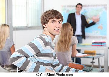 portrait, de, a, jeune homme, dans, classe