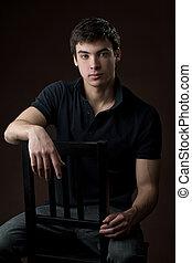 portrait, de, a, jeune homme, dans, studio