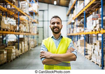portrait, de, a, mâle, entrepôt, worker.
