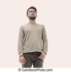 portrait, de, a, moderne, confiant, jeune homme