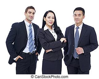 portrait, de, a, multinational, equipe affaires