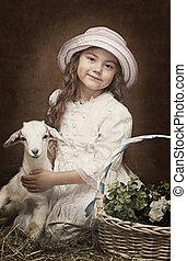portrait, de, a, petite fille, à, a, bébé, chèvre