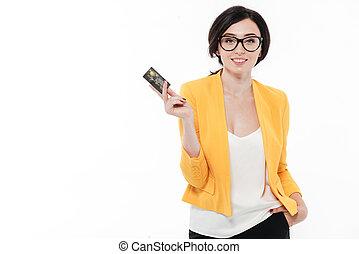 portrait, de, a, sourire, brunette, femme, dans, lunettes