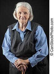 portrait, de, a, sourire, femme aînée