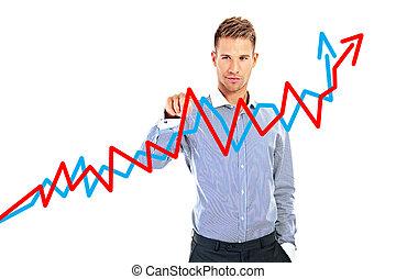 portrait, de, a, sourire, homme affaires, dessin, a, levée, flèche, représenter, croissance affaires