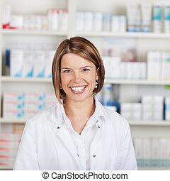 portrait, de, a, sourire, pharmacien