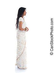 portrait, de, a, sud, indien, femme, porter, bijouterie, et, sari