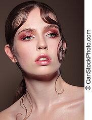 portrait, de, a, woman., makeup.