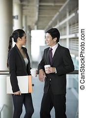 portrait, de, affaires asiatiques, partners.