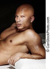 portrait, de, beau, bodybuilder.