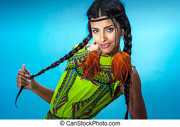 portrait, de, beau, brunette, multiethnic, girl.