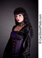 portrait, de, beau, gothique, girl, dans, style victorien, vêtements
