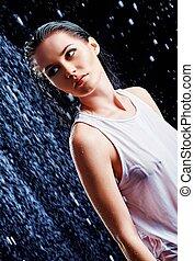 portrait, de, beau, jeune fille, dans, eau, studio
