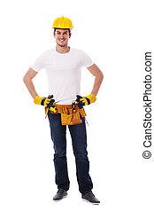 portrait, de, beau, ouvrier construction