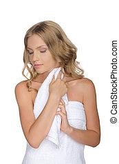 portrait, de, belle femme, à, serviette