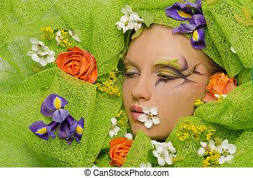 portrait, de, belle femme, dans, fleurs