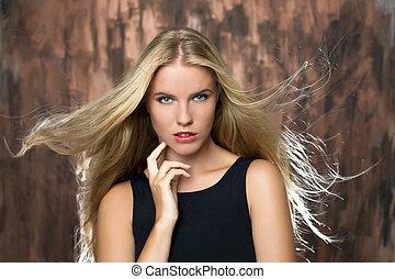 portrait, de, belle femme