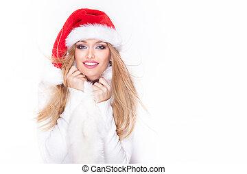 portrait, de, blond, femme, dans, chapeau rouge