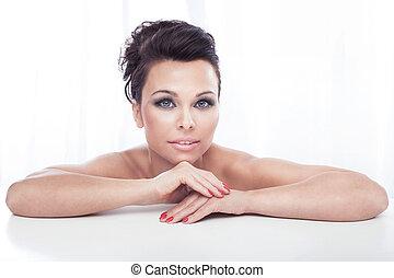 portrait, de, brunette, woman.