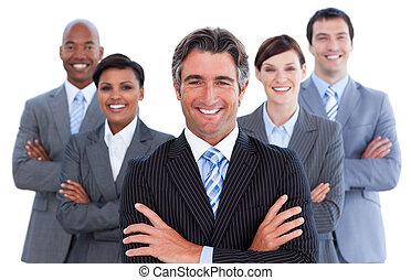 portrait, de, compétitif, equipe affaires