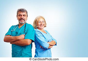 portrait, de, confiant, adulte, monde médical, médecins