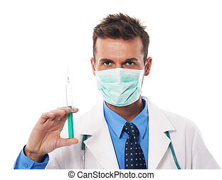 portrait, de, confiant, chirurgien, tenue, seringue
