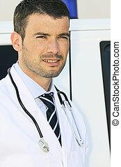 portrait, de, docteur, devant, une, ambulance