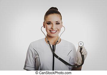 portrait, de, docteur féminin, à, a, stéthoscope
