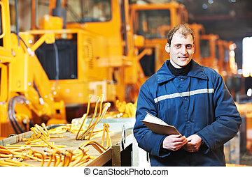 portrait, de, expérimenté, industriel, ingénieur