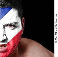 portrait, de, fâché, homme, à, peint, drapeau, de, france