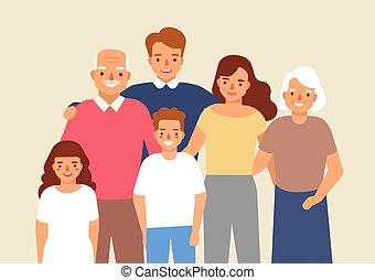 portrait, de, famille heureuse, à, grand-père, grand-mère, père, mère, enfant, girl, et, garçon, debout, ensemble., mignon, rigolote, sourire, dessin animé, characters., coloré, vecteur, illustration, dans, plat, style.