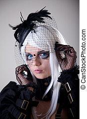 portrait, de, fantasme, girl, à, créatif, maquillage
