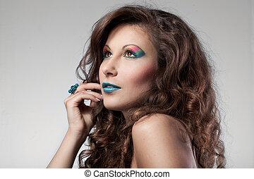 portrait, de, femme, à, couleur, maquillage