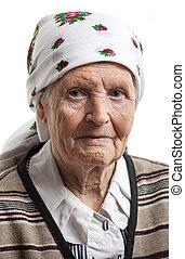portrait, de, femme aînée, sur, blanc