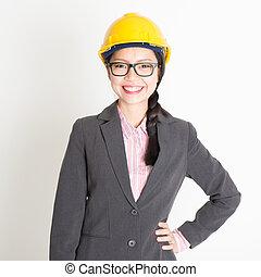 portrait, de, femme, ingénieur