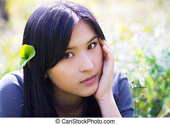 portrait, de, fille asiatique