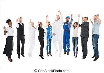 portrait, de, gens, à, métiers, applaudissement