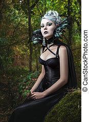 portrait, de, gothique, girl.