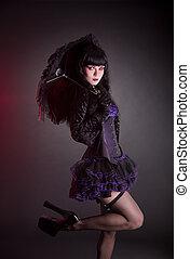 portrait, de, gothique, lolita, fille parapluie