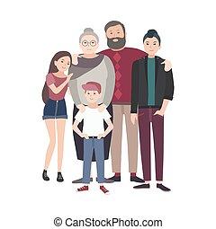 portrait, de, heureux, family., sourire, grand-père, grand-mère, et, leur, adolescent, petits-enfants, debout, ensemble, isolé, blanc, arrière-plan., rigolote, plat, dessin animé, characters., coloré, vecteur, illustration.
