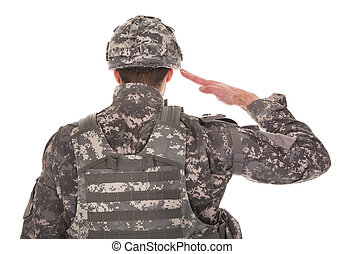 portrait, de, homme, dans, uniforme militaire, saluer