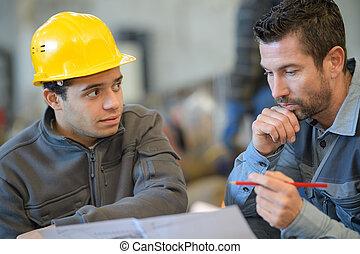 portrait, de, industriel, ingénieurs