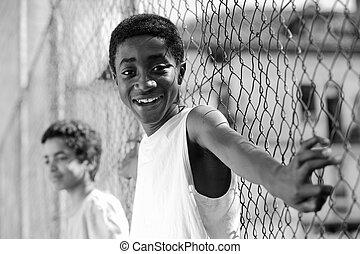 portrait, de, jeune, africaine, garçon