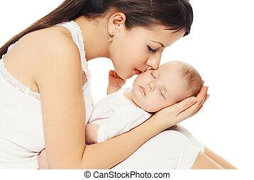 portrait, de, jeune, aimer, mère, baisers, elle, bébé