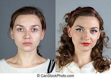 portrait, de, jeune femme, before.and.after, grimer