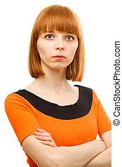portrait, de, jeune femme, blanc, fond
