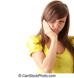 portrait, de, jeune, femme triste