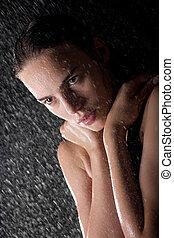 portrait, de, joli, adolescent, dans, douche