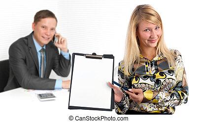 portrait, de, joli, femme affaires, dans, bureau